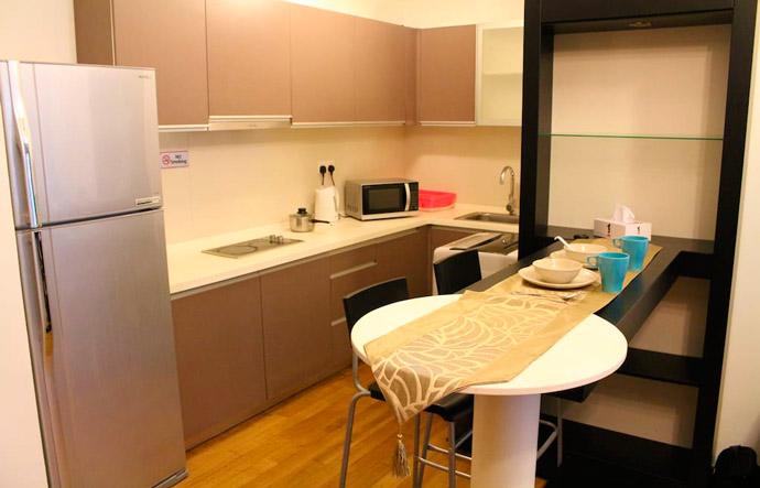 Cocina de nuestro apartamento en Kuala Lumpur