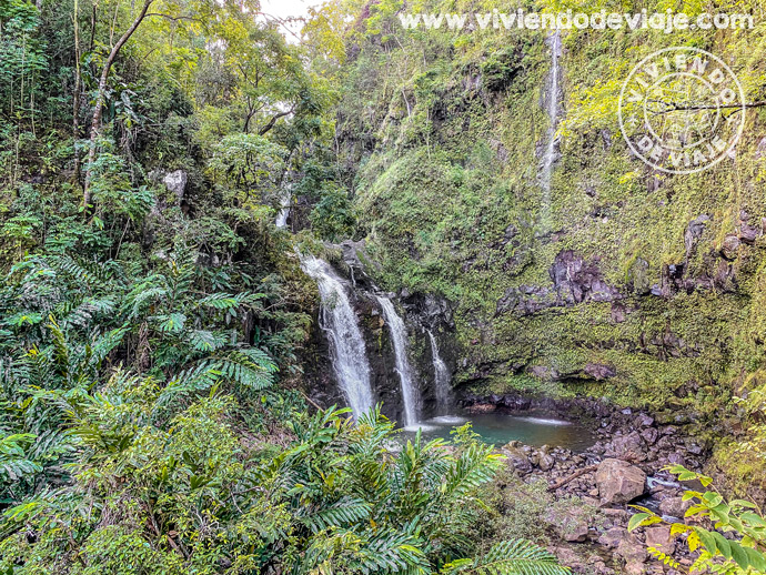 Upper Waikani Falls (Three Bears)   Carretera de Hana