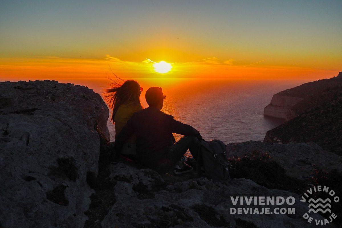 Atardecer desde los acantilados Dingli en Malta